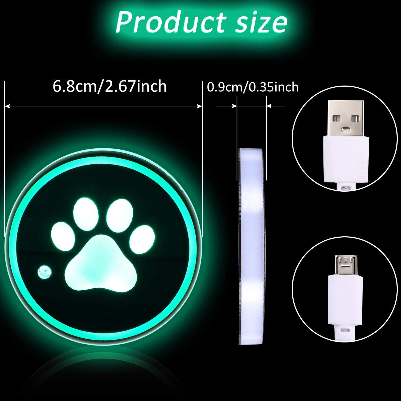2 Pi/èces LED Dessous de Verre de Voiture Porte-Gobelet de Voiture sous-Verre Charg/é par USB Dessous de Verre Lumineux avec Empreinte de Patte pour Accessoires de Voiture /à Boire de Femmes Hommes