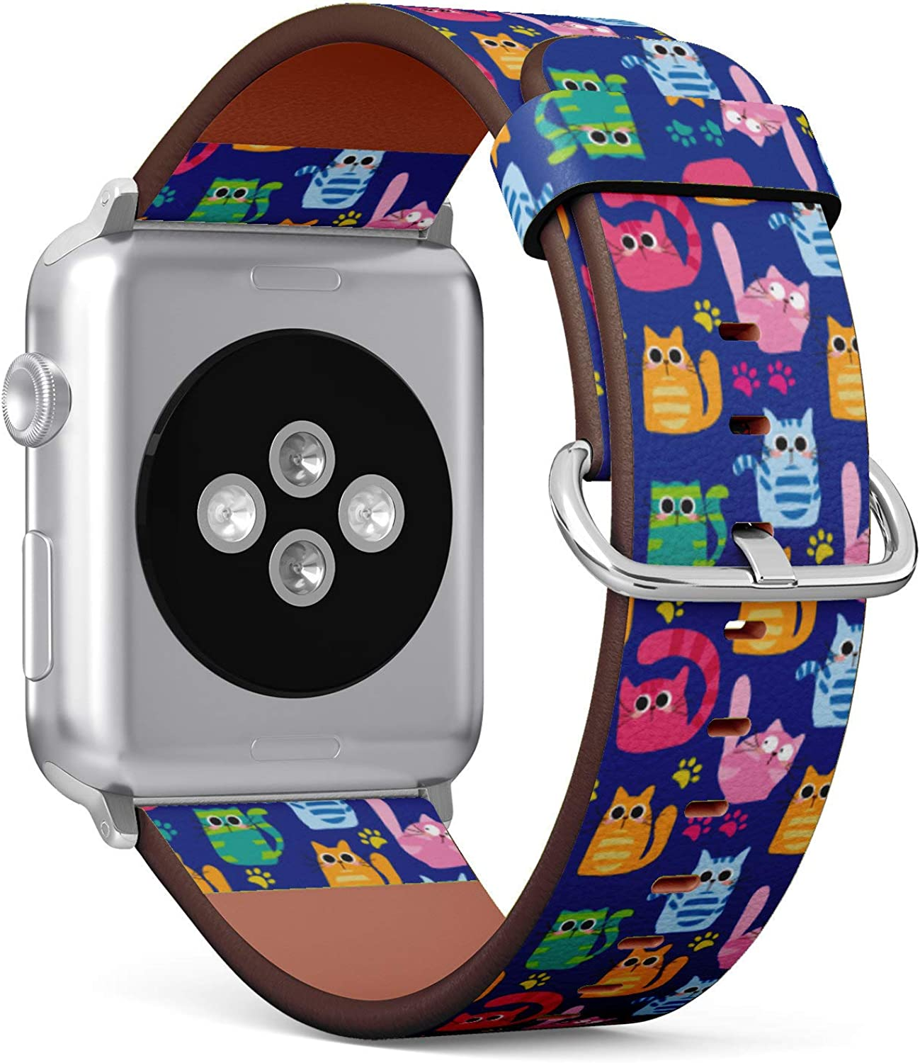 (Cute Cartoon Cat and Paws Pattern) Patterned Leather Wristband Strap for Apple Watch Series 4/3/2/1 gen,Replacement for iWatch 38mm / 40mm Bands