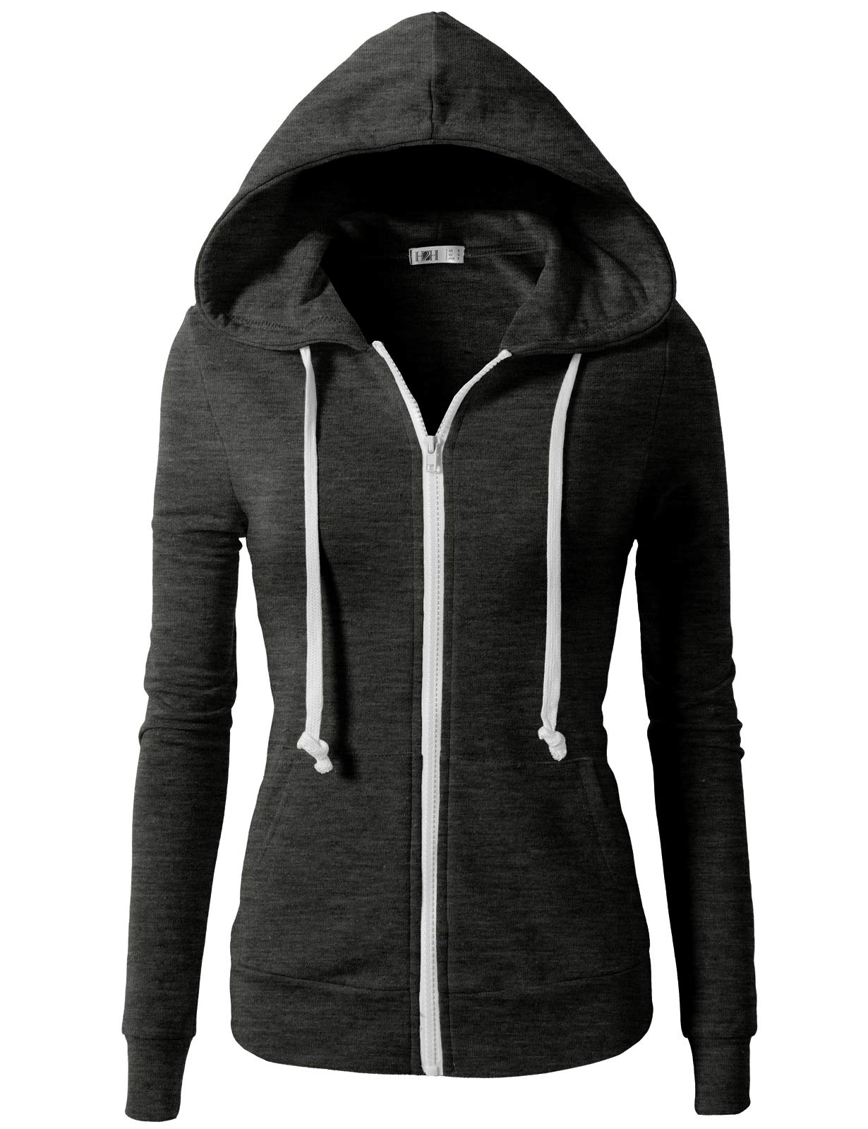 H2H Womens Active Regular Fit Zip up Long Sleeve Hoodie Jacket Charcoal S (CWOHOL020)