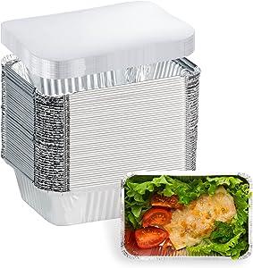 50 Pack Aluminum Pans Disposable Food Containers with Lids - 1.5 LB Heavy Duty Tin Foil Pans - 7
