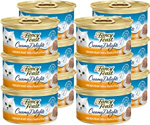 Fancy Feast Purina Creamy Delights Chicken Feast with A Touch of Real Milk(12-CANS) (3 OZ Each)