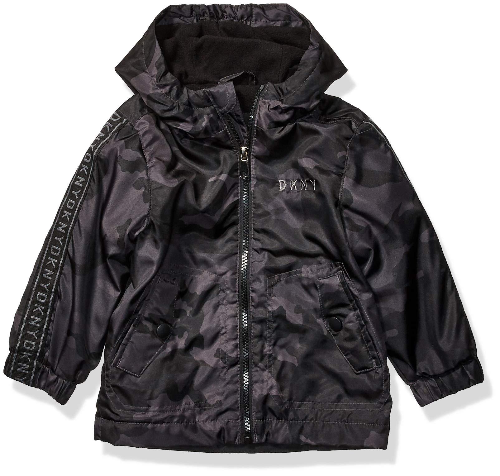 DKNY Baby Boys Fashion Outerwear Jacket, Logo Sleeves Black Camo, 18M by DKNY