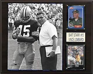 product image for NFL Bart Starr and Vince Lombardi Green Bay Packers Player Plaque, Brown, 12 x 15-Inch