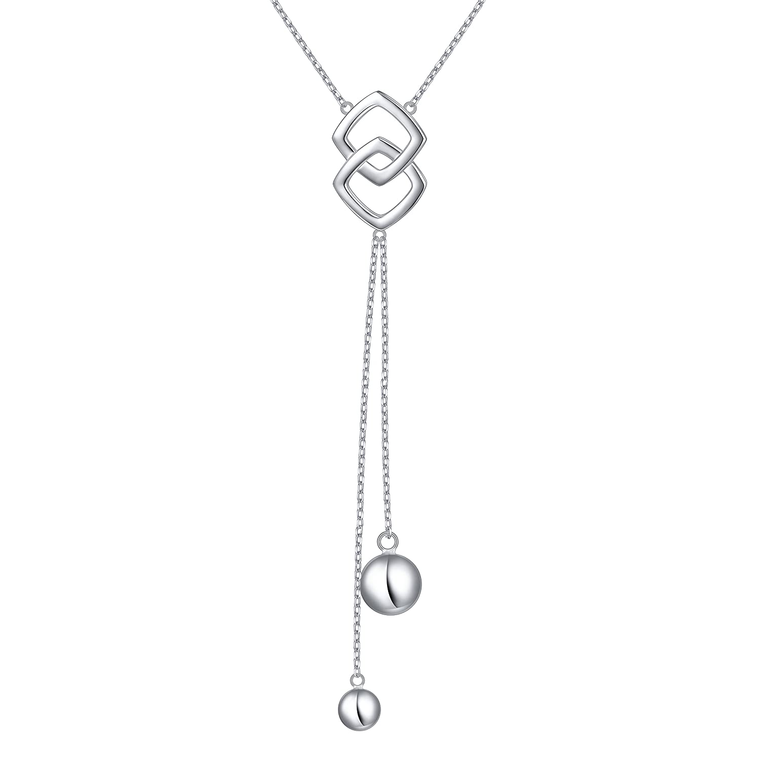 SILVER MOUNTAIN Long Necklace S925 Sterling Silver Tassel Round Ball Necklace for Women, 30