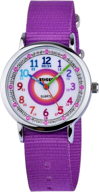 Reloj de Pulsera Impermeable Correa de Nylon Reloj Aprendizaje niña Zeiger Relojes analógicos de Cuarzo Hora del Maestro para niñas Niños Regalo de cumpleaños W108 (Viola)
