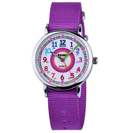 Reloj de Pulsera Impermeable Correa de Nylon Reloj Aprendizaje niña Zeiger Relojes analógicos de Cuarzo Hora