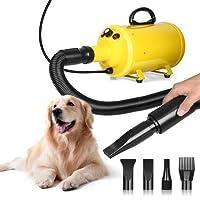 Amzdeal Soffiatore per Cani con 4 Ugelli, 2800W, 2 Livelli di Temperature(30℃/55℃), Velocità di Vento Regolabile, Meno Rumore, Asciugacapelli per Cani per Uso Privato e Professionale