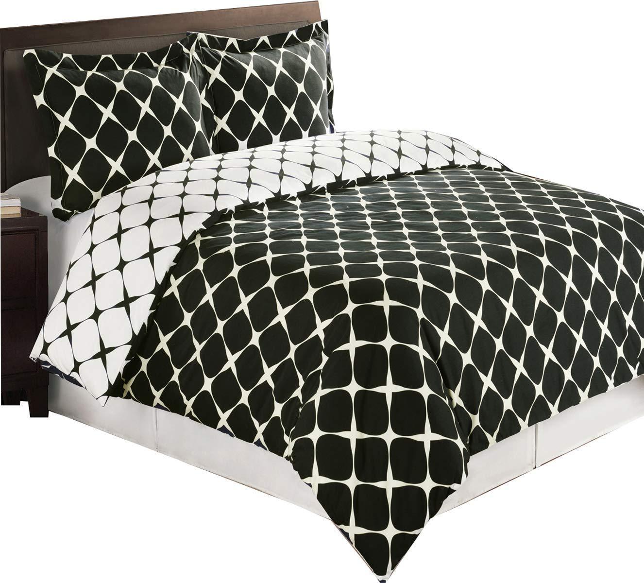 Queen Bloomingdale 3pc Duvet Cover Set Black /& White Full