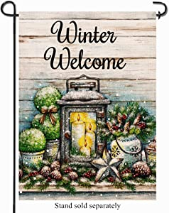 Artofy Winter Welcome Decorative Garden Flag, Farmhouse Snowy Outdoor Flag Pine Nuts Candles Sign, Rustic House Yard Garden Flag Winter Outside Decoration Holiday Home Decor Flag 12 x 18