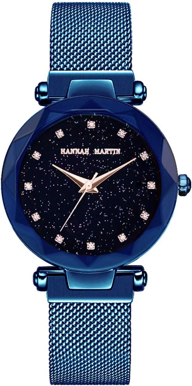 Hannah Martin SMAEL Relojes electrónicos magnéticos Impermeables Relojes de Pulsera para Las Mujeres con Movimiento de Japón,Blue
