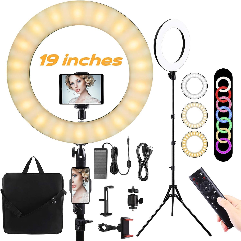 19 Anillo de luz LED con tr/ípode Aro de luz Regulable10colores 23 Niveles de brillo 55W RGB FlashRing Light para maquillaje//Fotograf/ía//VideoYouTube//Vlog//TIK Tok,Soporte telef/ónico,ipda c/ámara