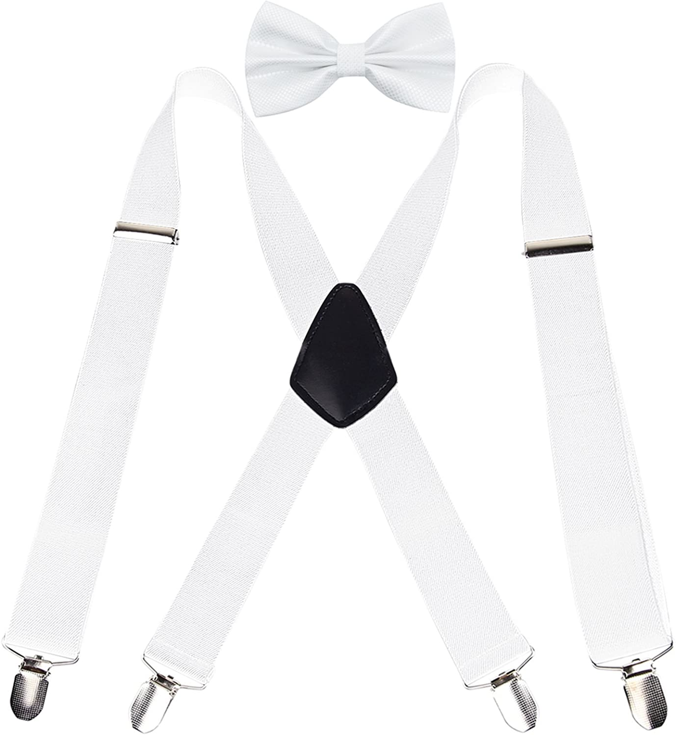 Alizeal Mens 1.37 inch Suspender and Pre-tied Bow Tie Set