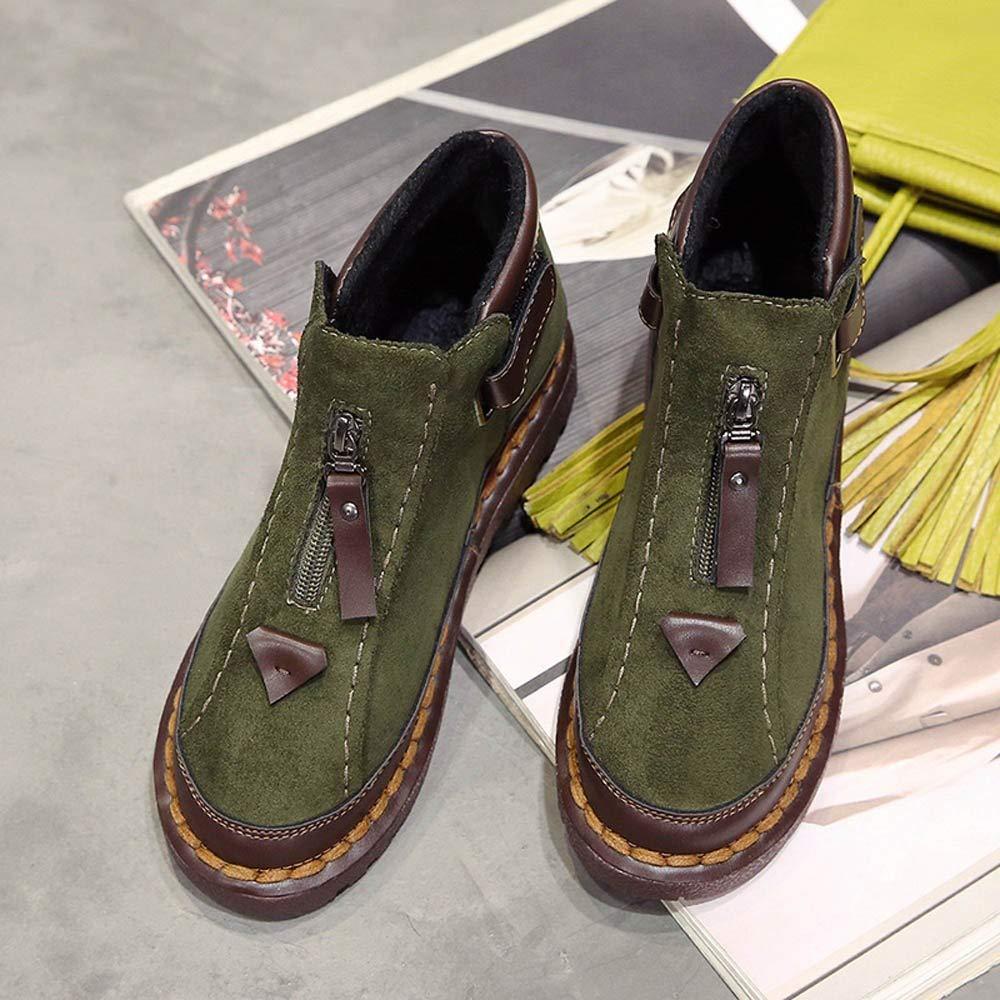 ZHRUI Stiefel Damen Schuhe Stiefeletten Stiefeletten Stiefeletten Damen Britischer Wind Chelsea Stiefel Dicke Sohlen Farben Brock Flat Martin Stiefel (Farbe   Grün, Größe   43) 5de736