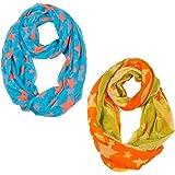 2 Tücher Loopschal Rundschal Tuch Halstuch Schal Langschal Damen Muster für Top Bluse Jacke Sterne Blau Orange Gelb
