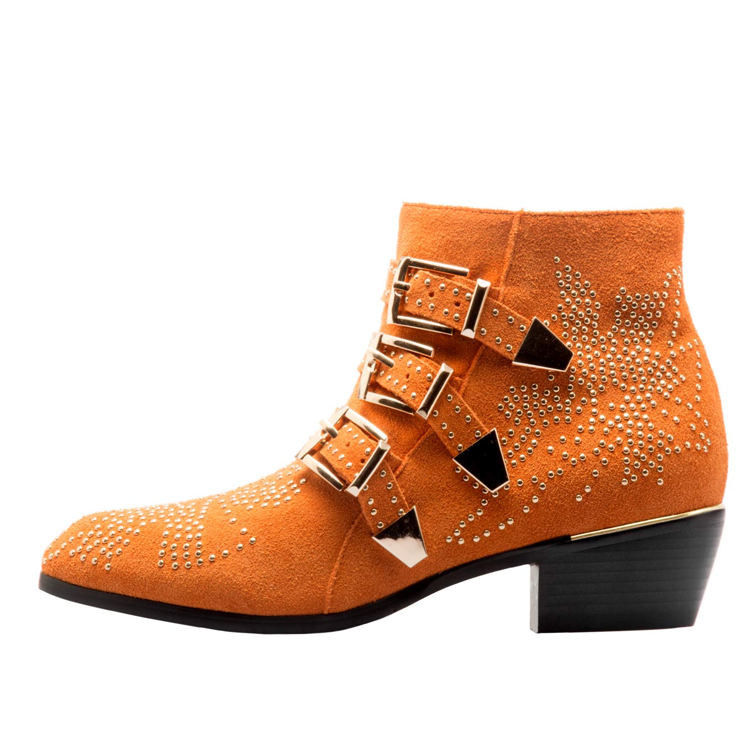 Yellow-suede Comfity Boots for Women,Women's Leather Boot Rivets Studded shoes Metal Buckle Low Heels Ankle Boots