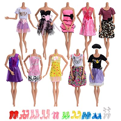 Asiv 10 Pcs Fashion Clothes Dress for Dolls 11.5 inch + 10 Pairs of Shoes Doll Accessories Outfits for Girls Christmas Birthday Gift: Toys & Games