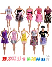 ASIV 10 Pcs Fashion Clothes Dress for Barbie Dolls +10 Pairs of Shoes Doll Accessories