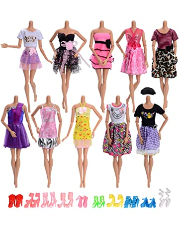 Asiv 20 Piezas Ropa y Zapatos para Muñeca Barbie - 10 Piezas Mini Falda de Moda