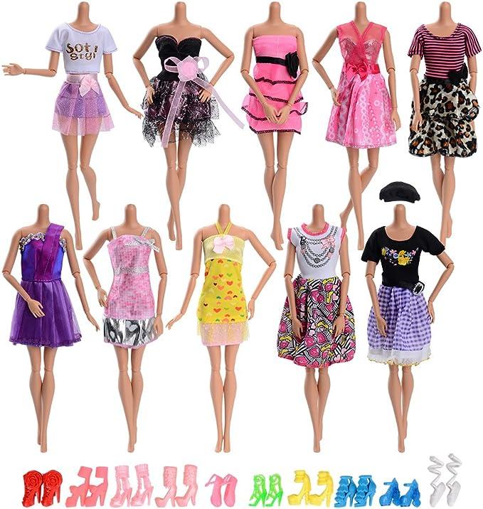 Amazon.es: Asiv 20 Piezas Ropa y Zapatos para Muñeca Doll - 10 Piezas Mini Falda de Moda y 10 Pares de Zapatos para Regalo de Niña: Juguetes y juegos