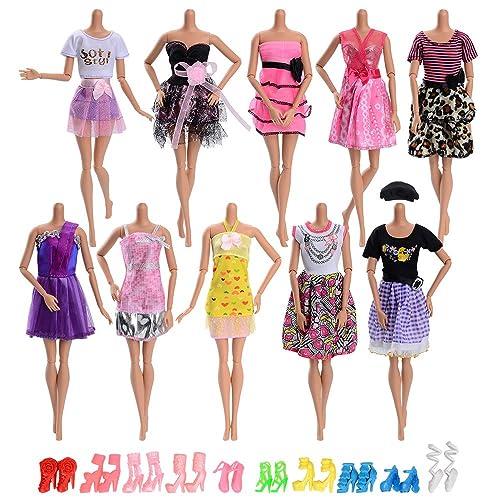 ASIV 20 Pcs Accessoires pour Poupées Barbie, 10 Mode Casual Vêtements Mini Jupe +10 Paires de Chaussures pour Barbie Fashionistas