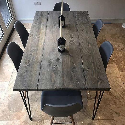Juego de 4 patas de acero Hahaemall para mesa de madera (sin el ...