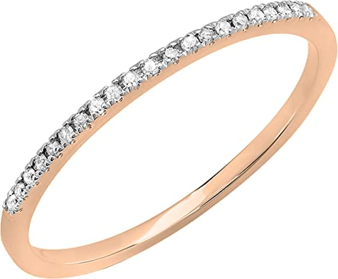 Smooth Plain Band Shiny Thin Ring 14K White Gold Band Proposal Ring Simple Band With One Diamond Minimal Stackable Ring Dainty Band