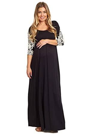 e2dc97256be28 PinkBlush Maternity Crochet Sleeve Maxi Dress at Amazon Women's ...