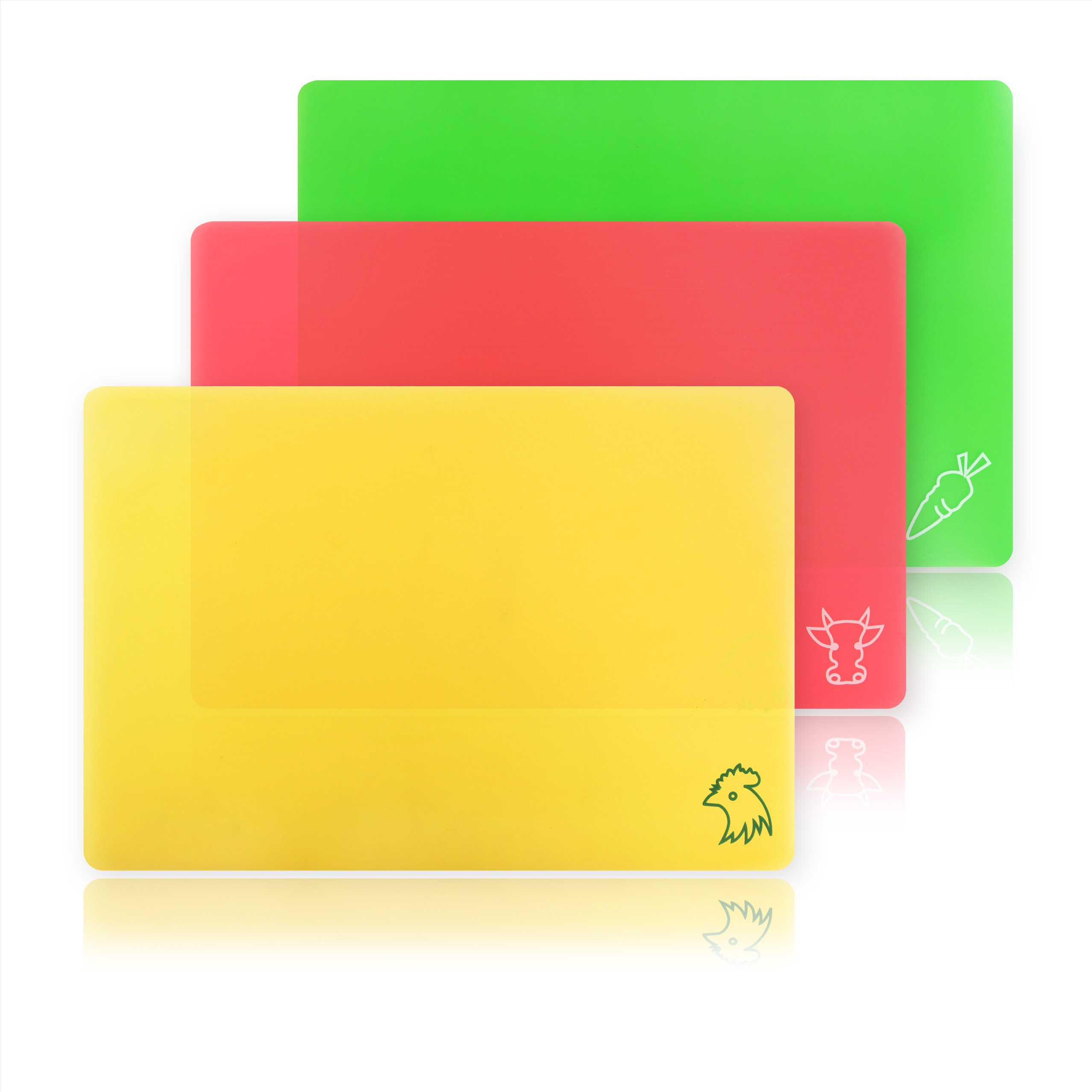 New Star Foodservice 28690 Flexible Cutting Board, 9.5-Inch by 14-Inch, Assorted Colors, Set of 3 by New Star Foodservice (Image #1)