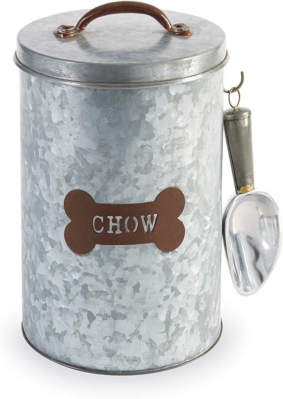 Mud Pie 40220015zincato–Barattolo contenitore per cibo per cani, argento