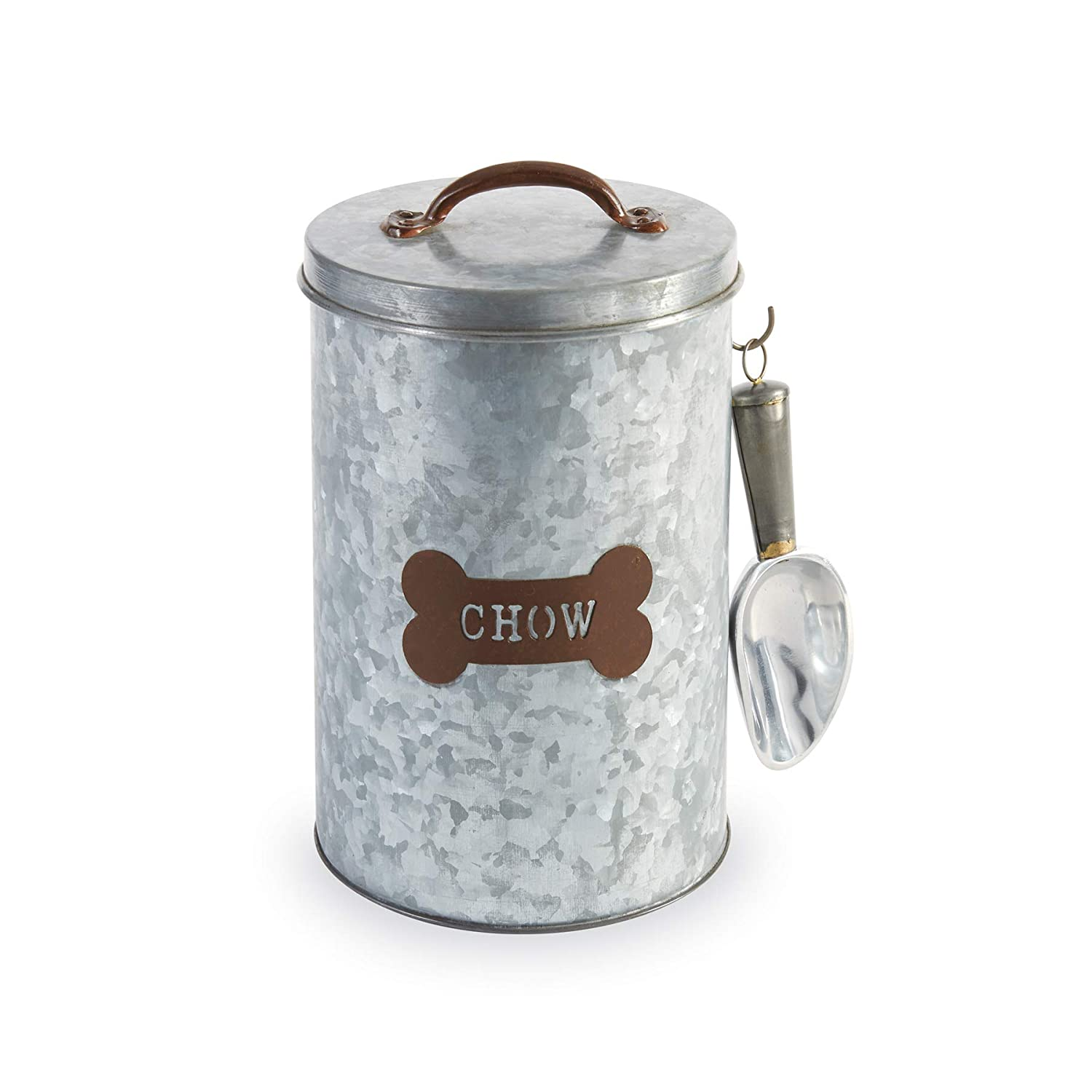Mud Pie 40220015 Galvanized Tin Storage Container Dog Food Canister, One  Size, Silver