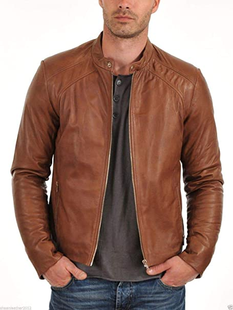 Amazon.com: Chaqueta de piel para hombre, para motocicleta ...