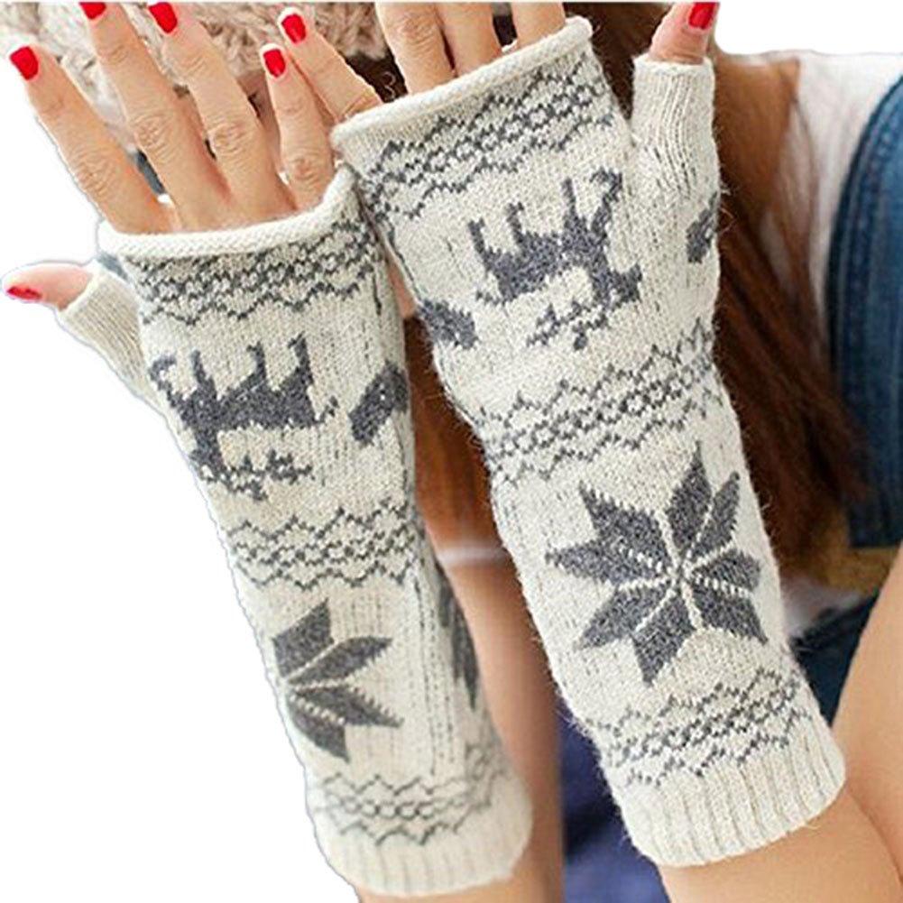 LI& HI Damen Accessory Schnee Winter Fingerhandschuh Schnee Nette Hälfte-Finger dicke Schneeflocken Handschuhe Halbfingermanschette Armmanschette HANDSCHUHE STULPEN mit Armstulpen Handwärmer Weihnachtsgeschenke - Mehrere Farben