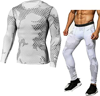 PHIBEE Men's Skin Tight Base Layer Compression Moisture-Wicking Long-Sleeve Under Shirt & Legging