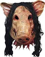 Scary Pig Mask with Hair for Halloween Costume Make-up Party Decoration Latex Pig Mask