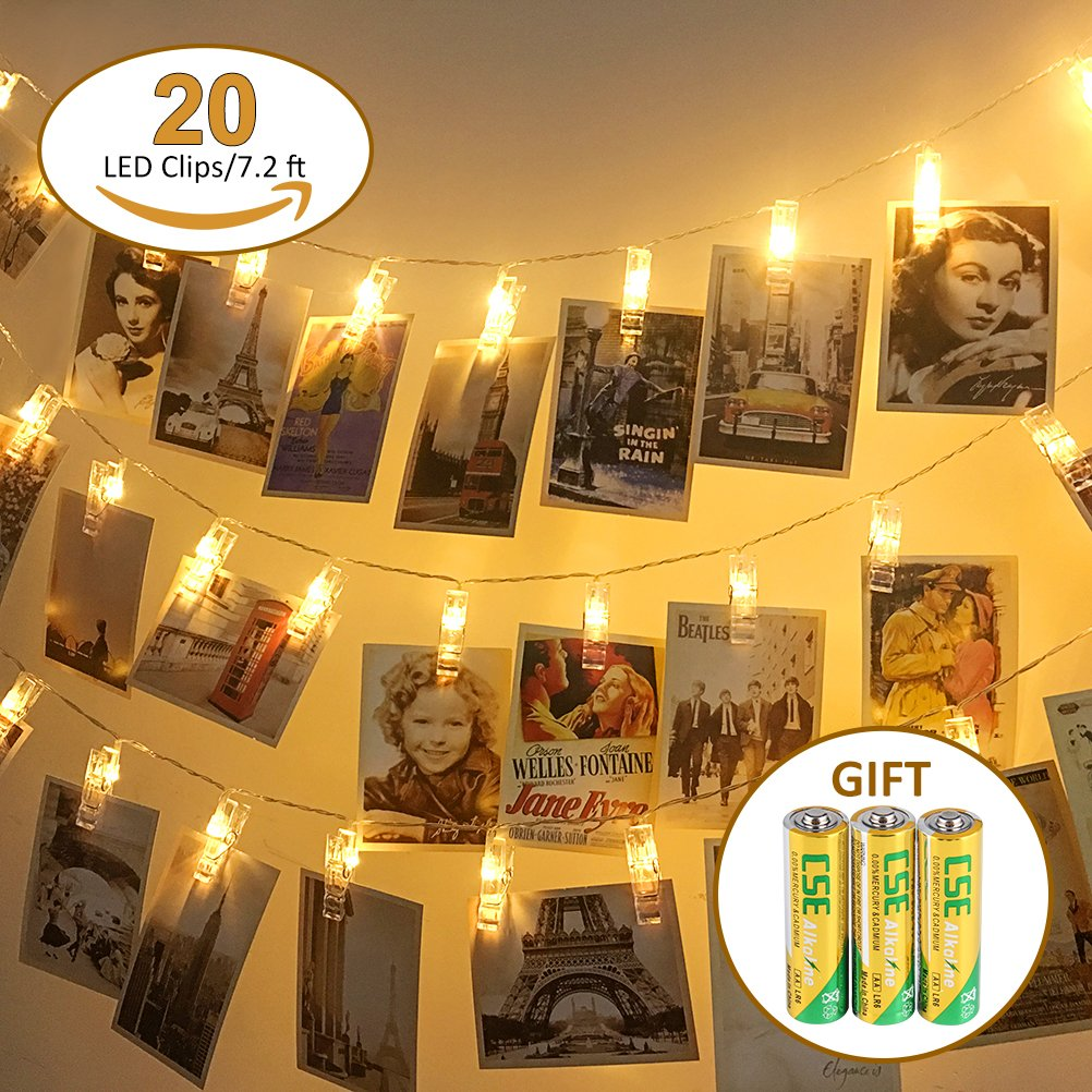 Ubrov 20 LED Fairy Lights Photo Clips String Lights (7.2 ft. Warm White) Battery Operated Hanging Picture,Cards and Artworks 3AA Batteries Included Decoration Light for Bedroom Wedding Party Christmas