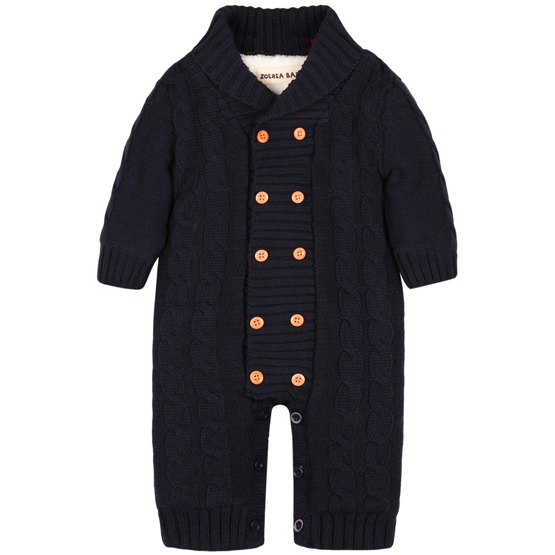 ZOEREA Maglione bambino tutine neonato Maglioni Cardigan bimba Tutina pagliaccetto Giacca Natale Maglione Cotone e velluto YS2036-DB-18M