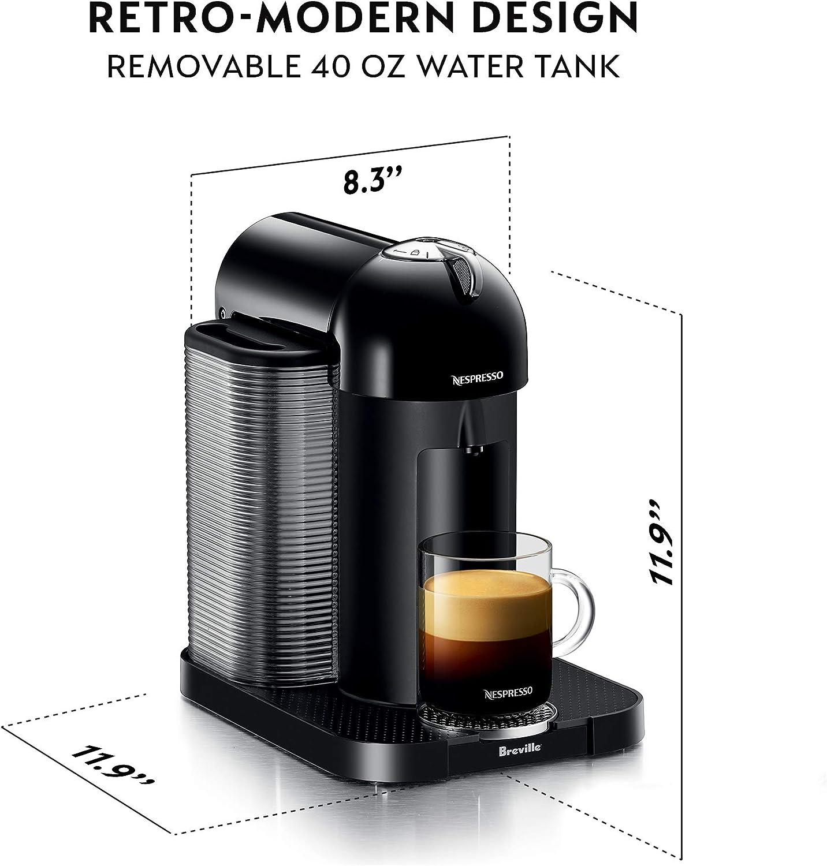 Chrome Nespresso Vertuo Coffee and Espresso Machine Bundle with Aeroccino Milk Frother by Breville