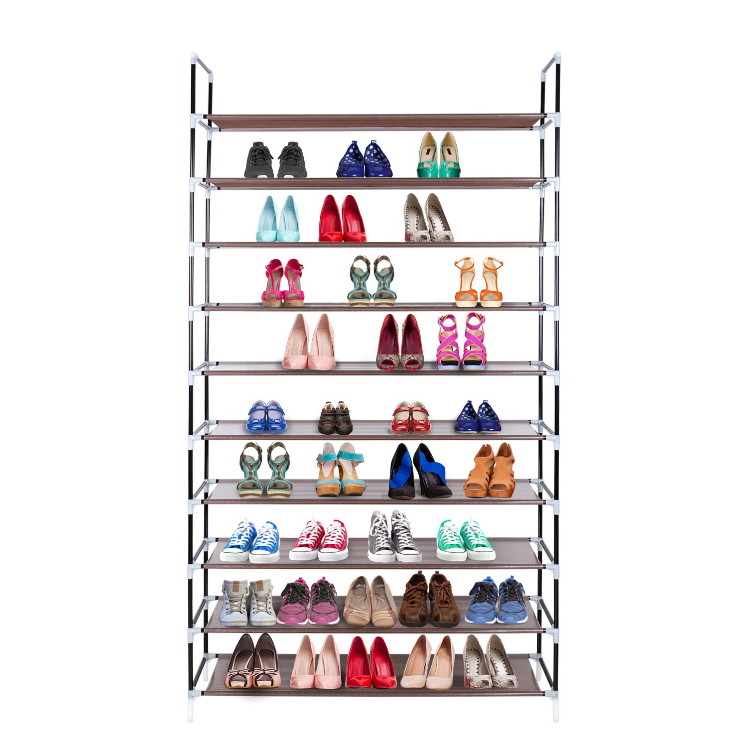 Awenia Shoe Rack 10 Tier Tall Metal for 30-50 pairs,Free Standing Adjustable Shoes Storage Organizer Door Shelves Space Saver,99x28x178cm