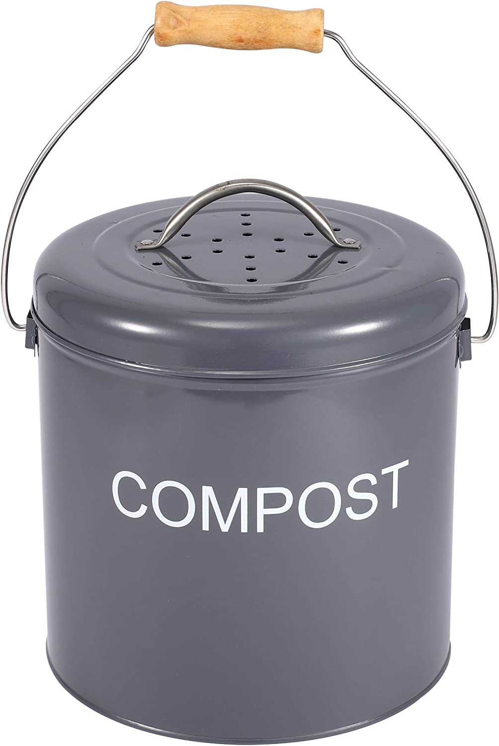 Xbopetda Compost Bin for Kitchen Countertop, Indoor Scraps Compost Bucket with Lid, Kitchen Pail Trash Keeper Container Recycling Caddy for Food Scraps (Gray)
