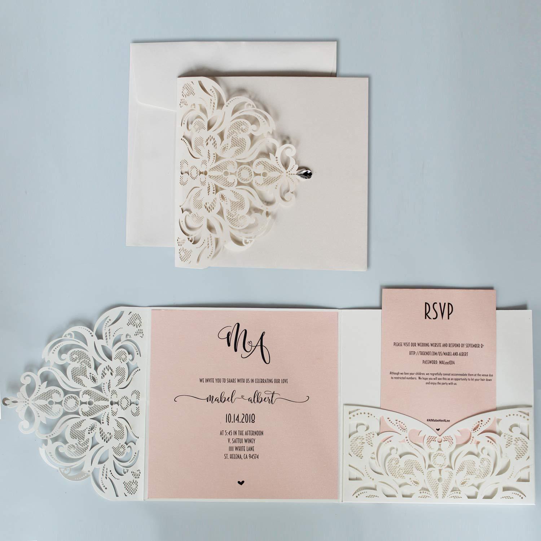 Amazon Com Picky Bride Laser Cut Wedding Invitations Pocket Wedding