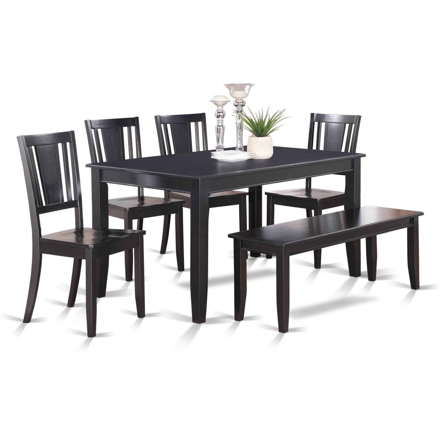 DULE6-BLK-W 6 Pc Dining Table with bench-Dining Table and 4 Dining Chairs and Bench