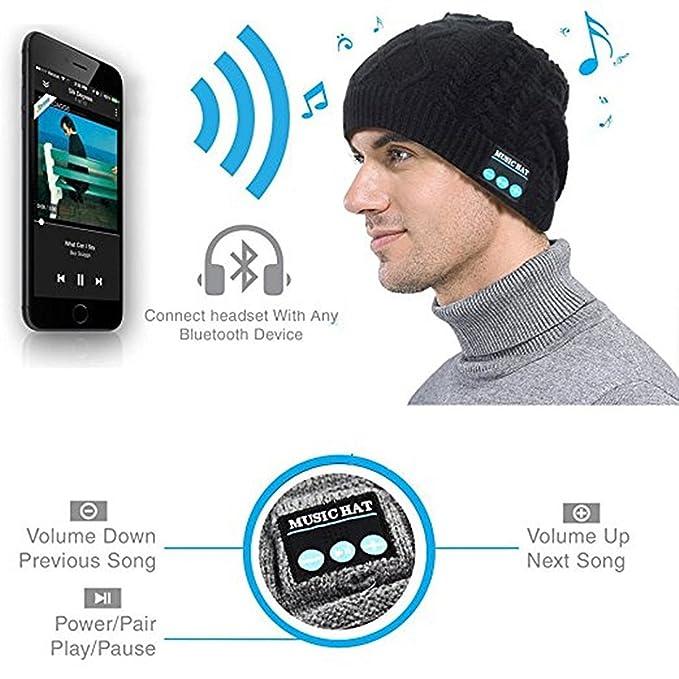 97c689f2aa2 Amazon.com  Wireless Bluetooth Hat Musical Smart Beanie Hat Hands ...