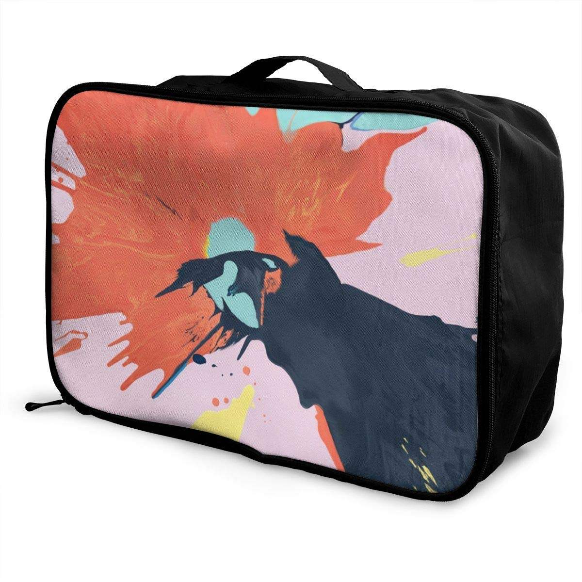 Paint Splash Colorful Pigment Graffiti Travel Lightweight Waterproof Foldable Storage Carry Luggage Duffle Tote Bag Large Capacity In Trolley Handle Bags 6x11x15 Inch