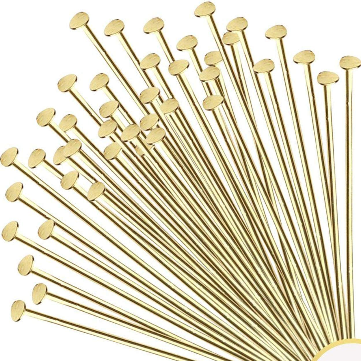 2 inch 22 Gauge 200pc Gold Solid Brass Head Ball pins for Jewelry Making- Nickel Free Hypoallergenic- 50mm