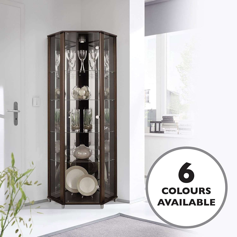 HOME Corner Glass Door Display Cabinet Wenge Dark Wood with 4 Moveable Glass Shelves & Spotlight Displaycabinetsuk