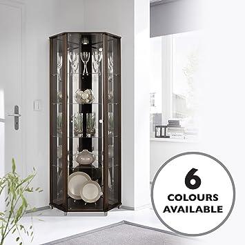 Home Corner Glass Door Display Cabinet Wenge Dark Wood With 4