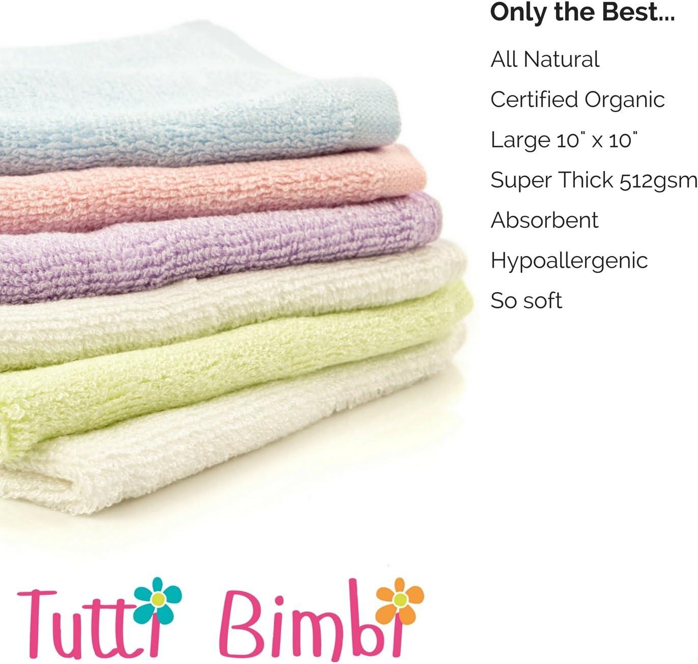 Tutti BimbiGant de toilette en flanelle de b/éb/é en bambou certifi/é biologique blanche