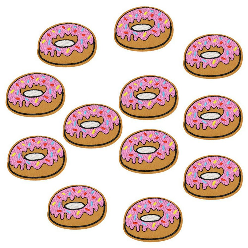 XUNHUI 10 pcs Donuts Patches Badges for Clothing Iron Embroidered Patch Applique Iron Sew on Diy Patches Sewing Accessories for Clothes