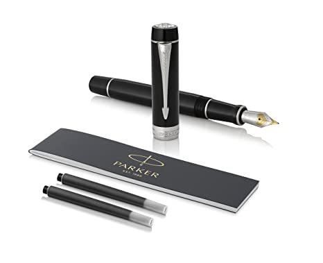 PARKER Duofold Centennial Fountain Pen, Classic Black with Palladium Trim, Fine Solid Gold Nib, Black Ink and Convertor (1931365)
