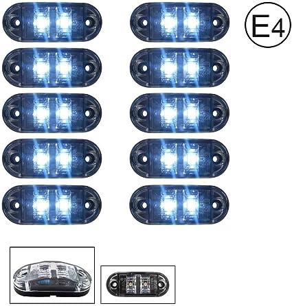 A1 10 X Led 12v Weiss Begrenzungsleuchte Positionsleuchte Seitenmarkierungsleuchte Lkw E Prüf E9 Auto